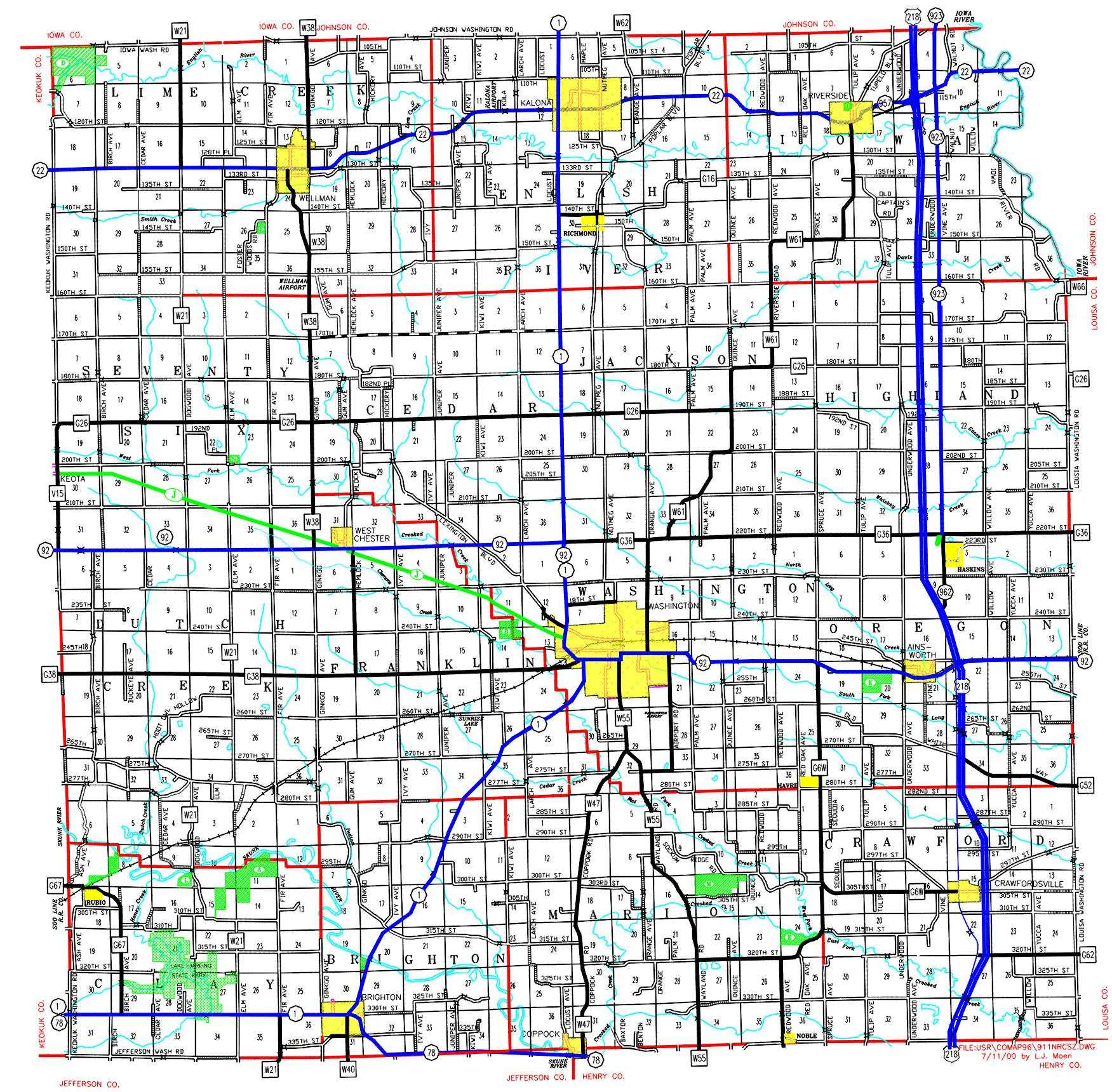 Parks Washington County IA Official Website - Iowa county map